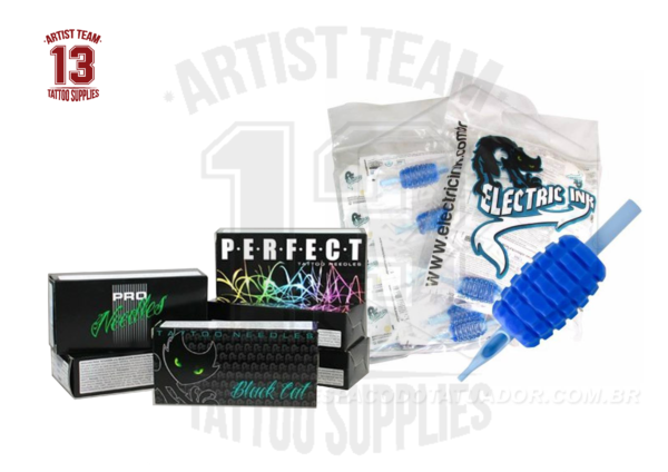 Electric ink. Grips + agujas . 20 Tubos desechables + 30 agujas